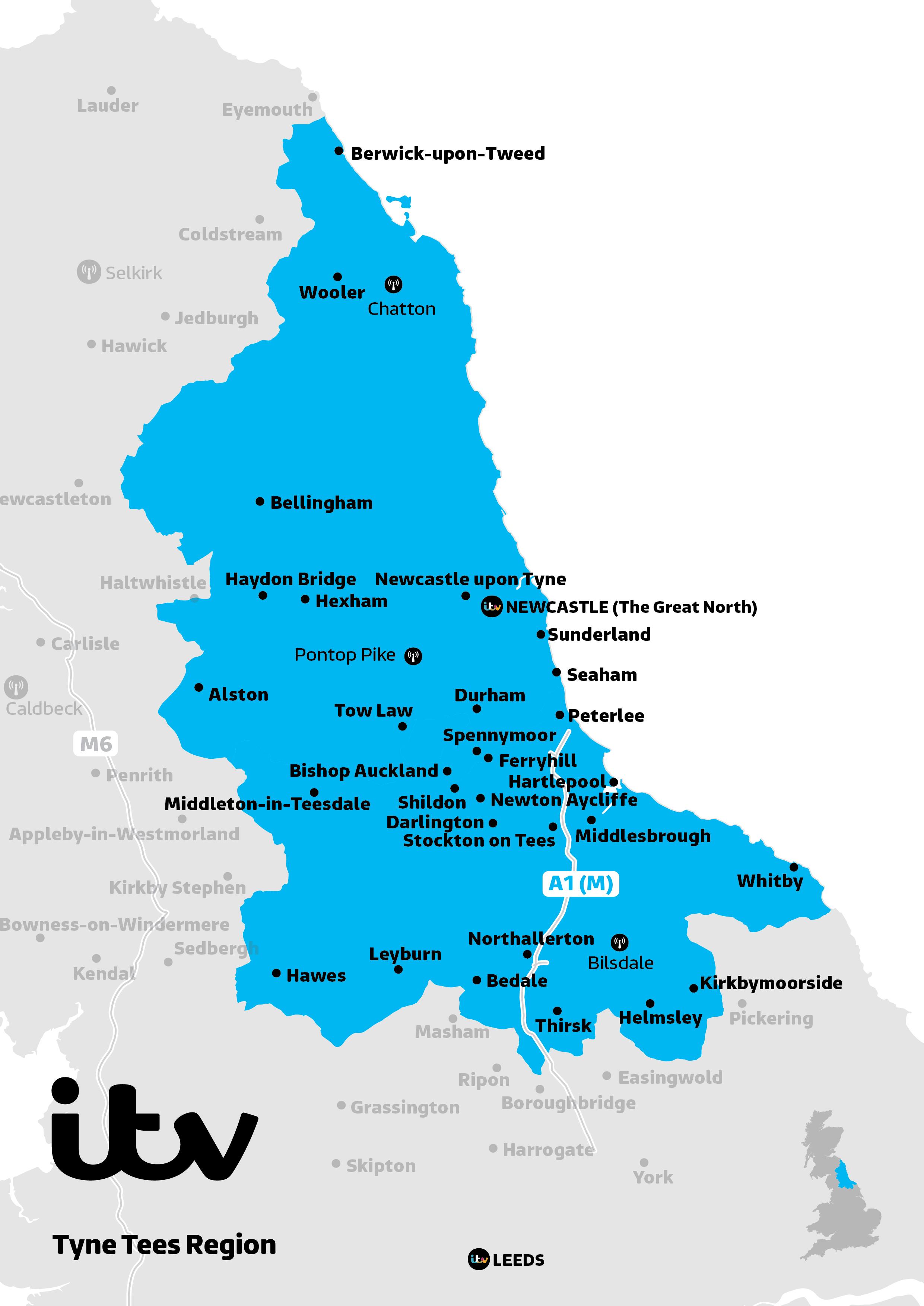 ITV Map Tyne Tees 2019